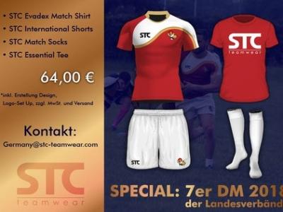 Des Rugbyspielers neue Kleider: STC Teamwear offeriert ein Special zu der 7-DM der Landesverbände in Hamburg Grafik: STC-Teamwear