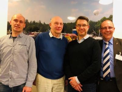 Der neue Vorstand des BRV - Von links nach rechts: Stephan Echtermeyer (Schatzmeister), Henric Lewkowitz (langjähriger Vorsitzender, nun Ehrenpräsident), Prof. Dr. Gerald Fritz (1. Vorsitzender), Mark Temme (2. Vorsitzender)