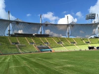 Ein nagelneuer Rasen ziert das Münchner Olympiastadion speziell ausgelegt für das größte Rugby-Event in Deutschland jemals.