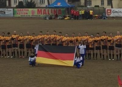 Die deutschen Jungs vor ihrem 68:0 Sieg über Litauen.