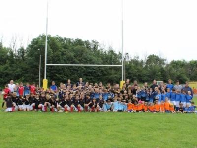 """Unterstützt vom Förderprogramm """"Get into Rugby"""" des World Rugby veranstaltet der Verein auf seinem Gelände am Samstag, 13. August 2016 das Olympic Youth Tournament Leipzig für Mannschaften der U8 bis U12."""